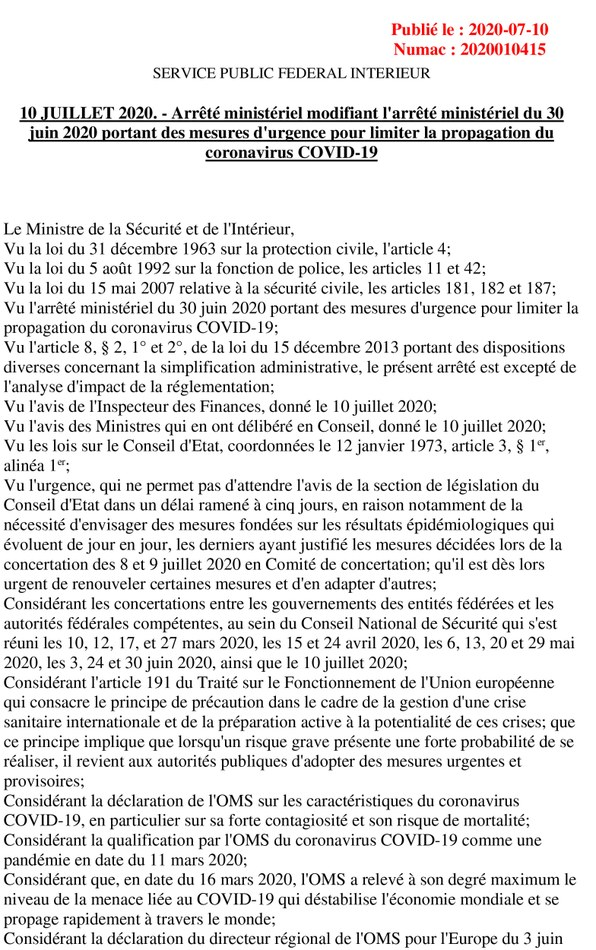 Arrêté ministériel 10 juillet 2020 1