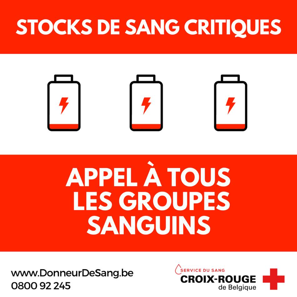 stocks de sang critiques
